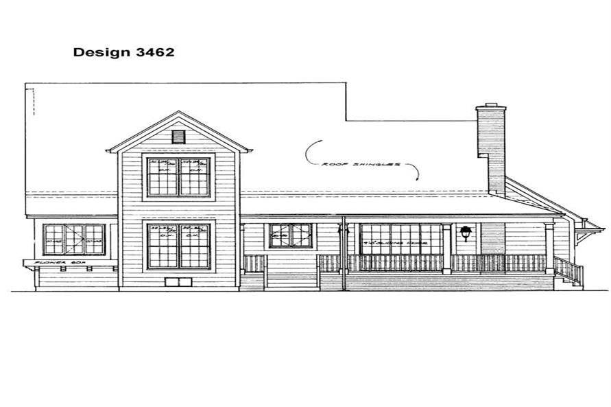 Home Plan Rear Elevation of this 4-Bedroom,2190 Sq Ft Plan -137-1277