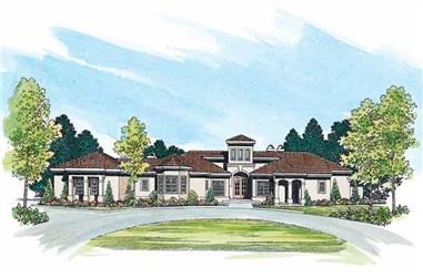 3-Bedroom, 3034 Sq Ft Mediterranean House Plan - 137-1280 - Front Exterior