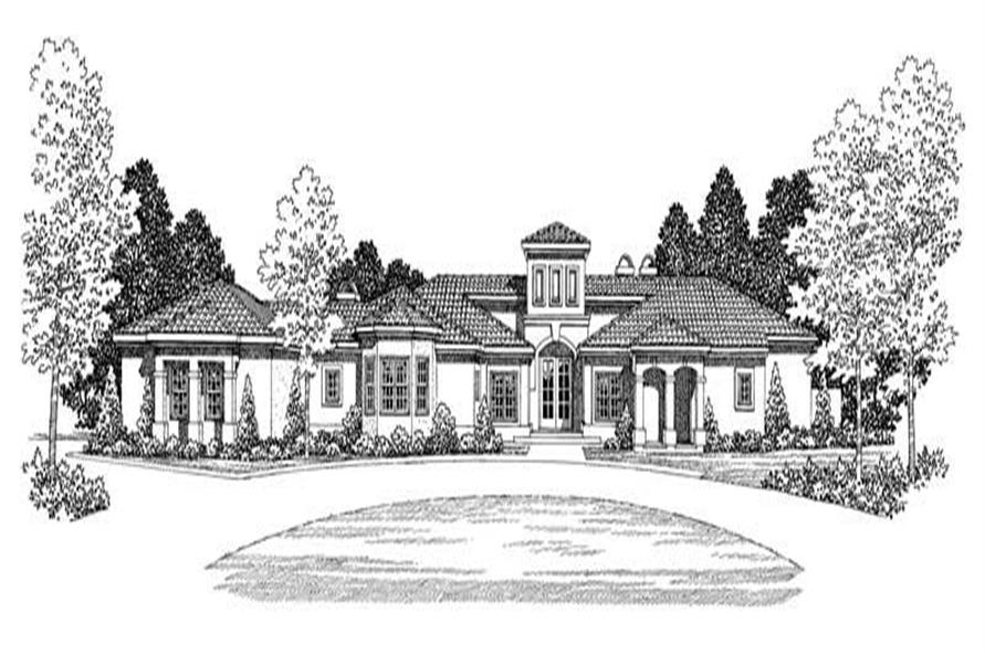 Home Plan Front Elevation of this 3-Bedroom,3034 Sq Ft Plan -137-1280