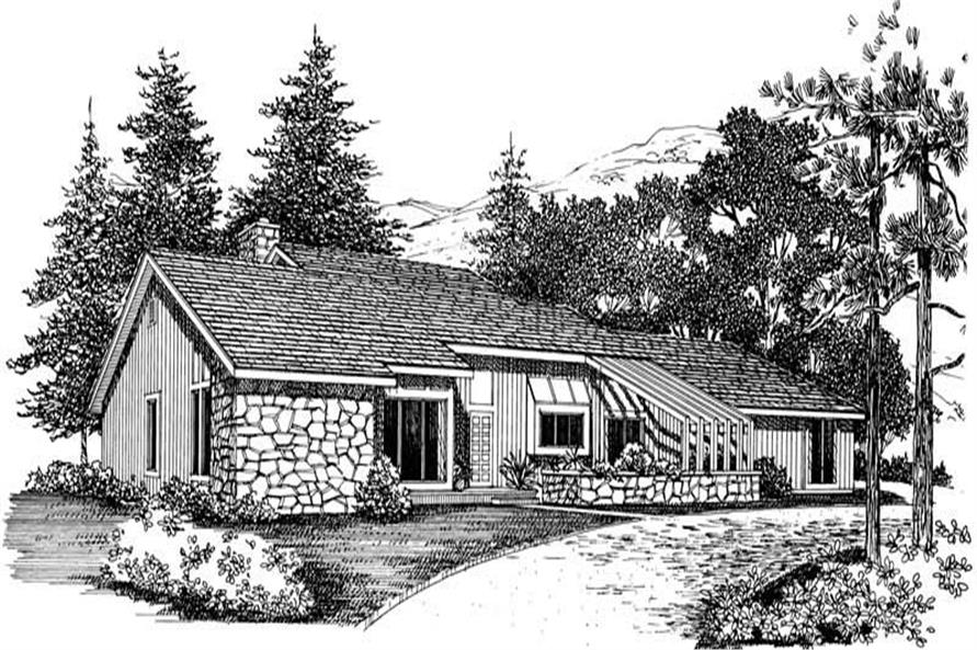 STONE FRONT RENDERING of this 3-Bedroom,1824 Sq Ft Plan -1824