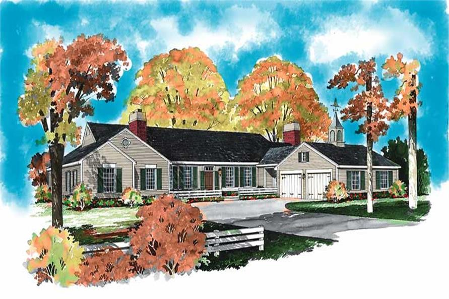 Home Plan Front Elevation of this 4-Bedroom,3018 Sq Ft Plan -137-1285