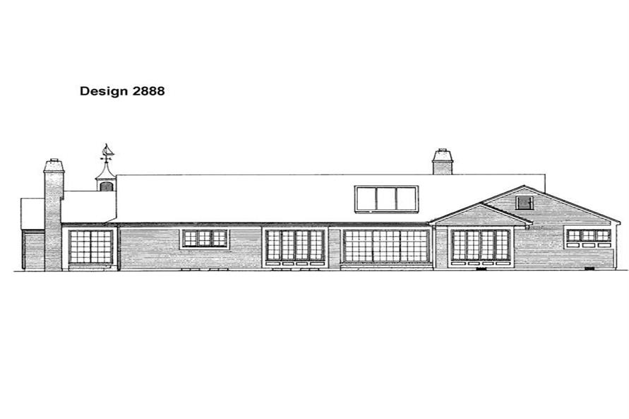 Home Plan Rear Elevation of this 4-Bedroom,3018 Sq Ft Plan -137-1285