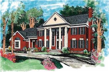 4-Bedroom, 4220 Sq Ft Colonial Home Plan - 137-1286 - Main Exterior