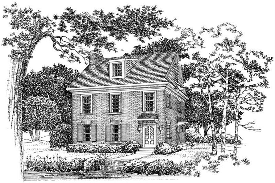 2-Bedroom, 1588 Sq Ft Colonial House Plan - 137-1293 - Front Exterior