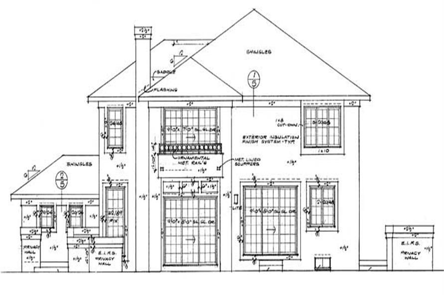Home Plan Rear Elevation of this 3-Bedroom,3158 Sq Ft Plan -137-1294