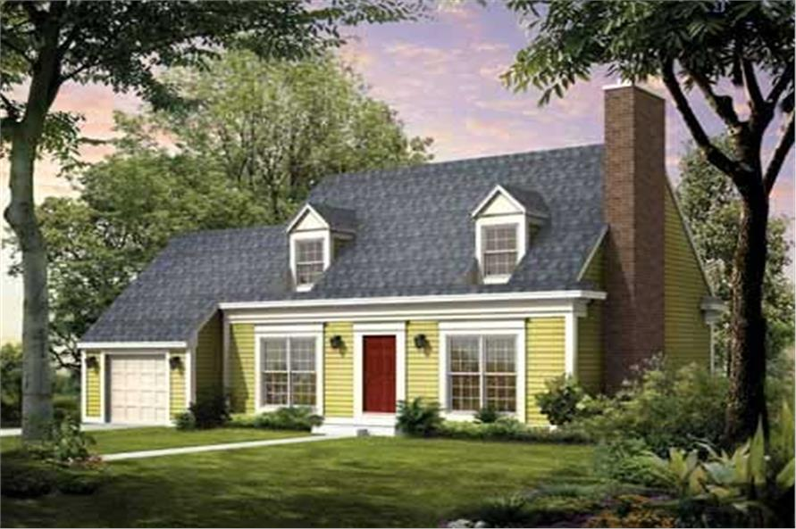 3-Bedroom, 1747 Sq Ft Cape Cod Home Plan - 137-1296 - Main Exterior