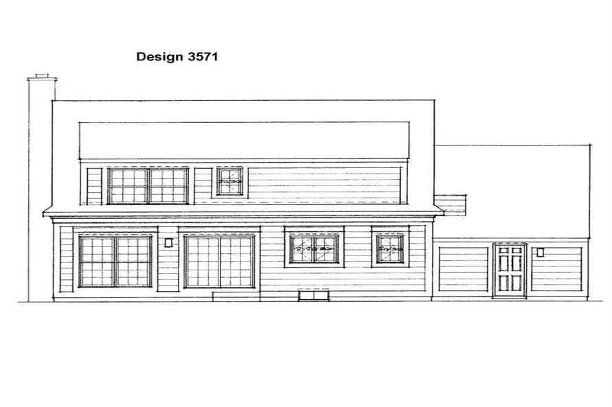 Home Plan Rear Elevation of this 3-Bedroom,1747 Sq Ft Plan -137-1296
