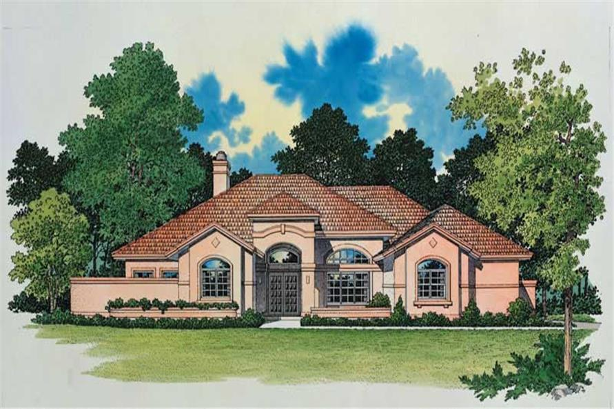3-Bedroom, 3286 Sq Ft Mediterranean House Plan - 137-1300 - Front Exterior