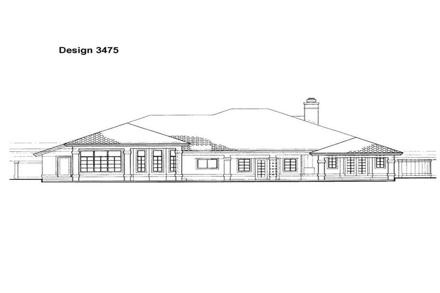 Home Plan Rear Elevation of this 3-Bedroom,3286 Sq Ft Plan -137-1300