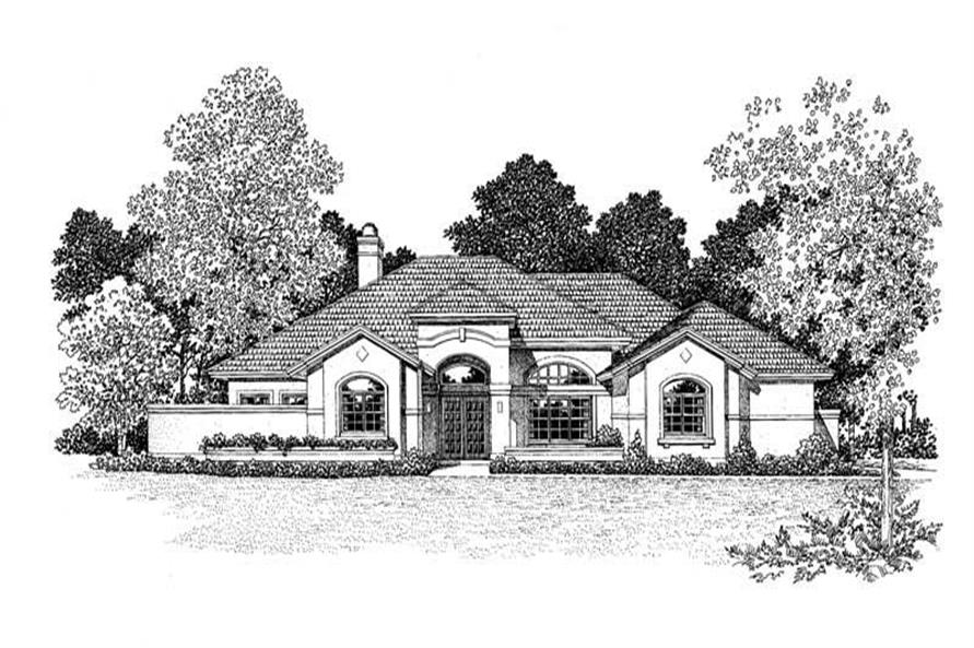 Home Plan Front Elevation of this 3-Bedroom,3286 Sq Ft Plan -137-1300