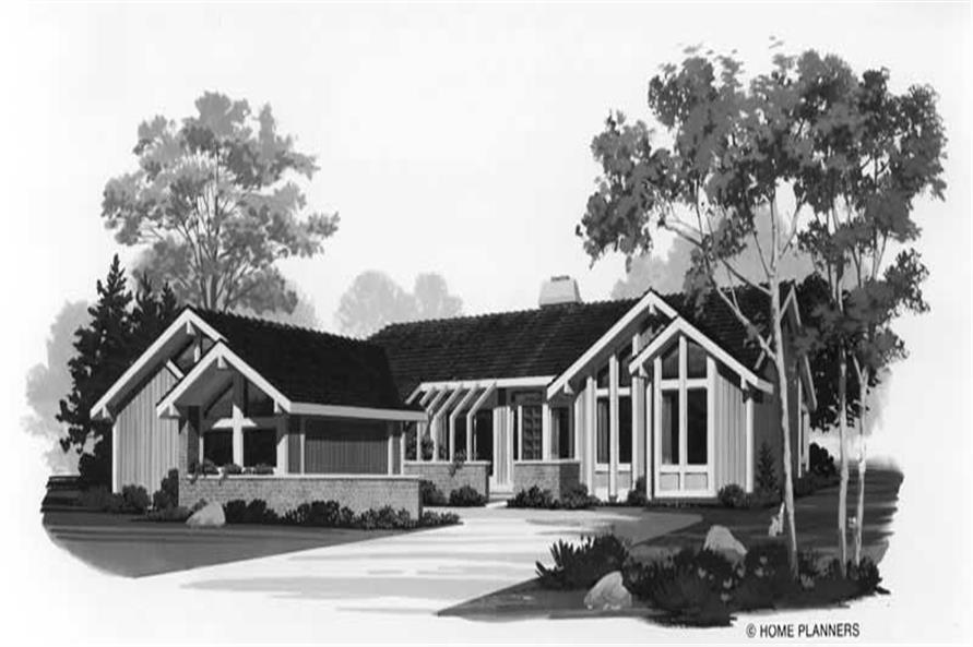 3-Bedroom, 1813 Sq Ft Contemporary Home Plan - 137-1303 - Main Exterior