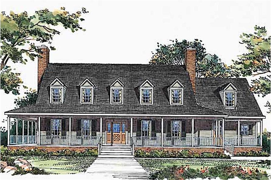 4-Bedroom, 3818 Sq Ft Country House Plan - 137-1304 - Front Exterior