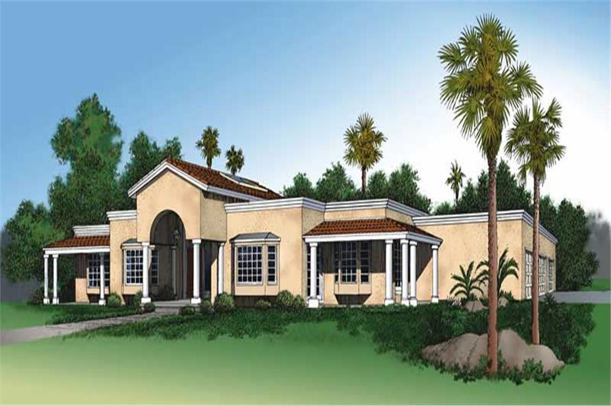 3-Bedroom, 2784 Sq Ft Mediterranean House Plan - 137-1306 - Front Exterior
