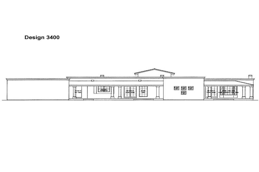 Home Plan Rear Elevation of this 3-Bedroom,2784 Sq Ft Plan -137-1306