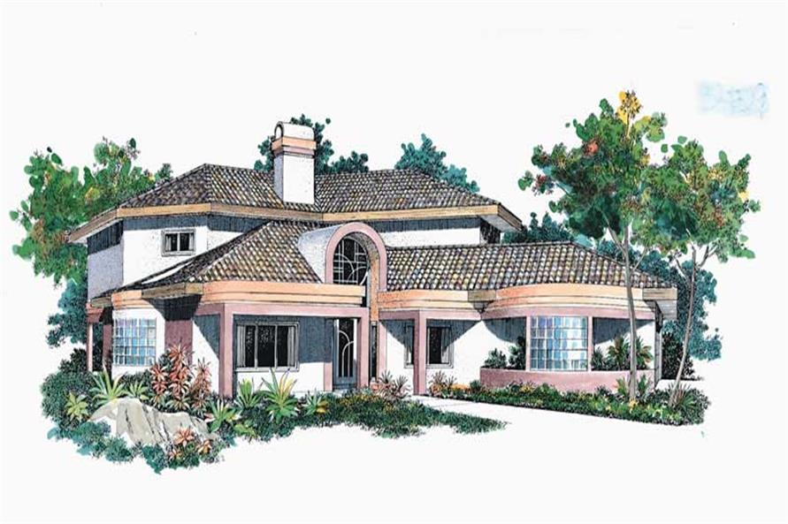 4-Bedroom, 2768 Sq Ft Mediterranean House Plan - 137-1308 - Front Exterior