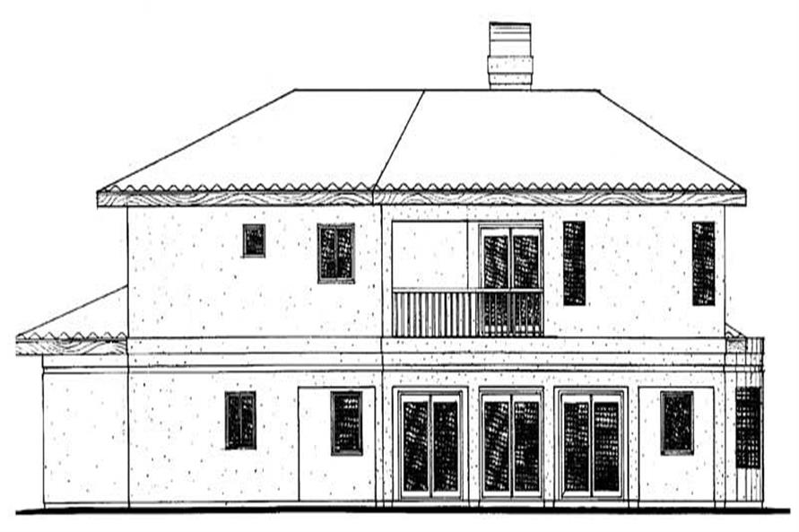 Home Plan Rear Elevation of this 4-Bedroom,2768 Sq Ft Plan -137-1308