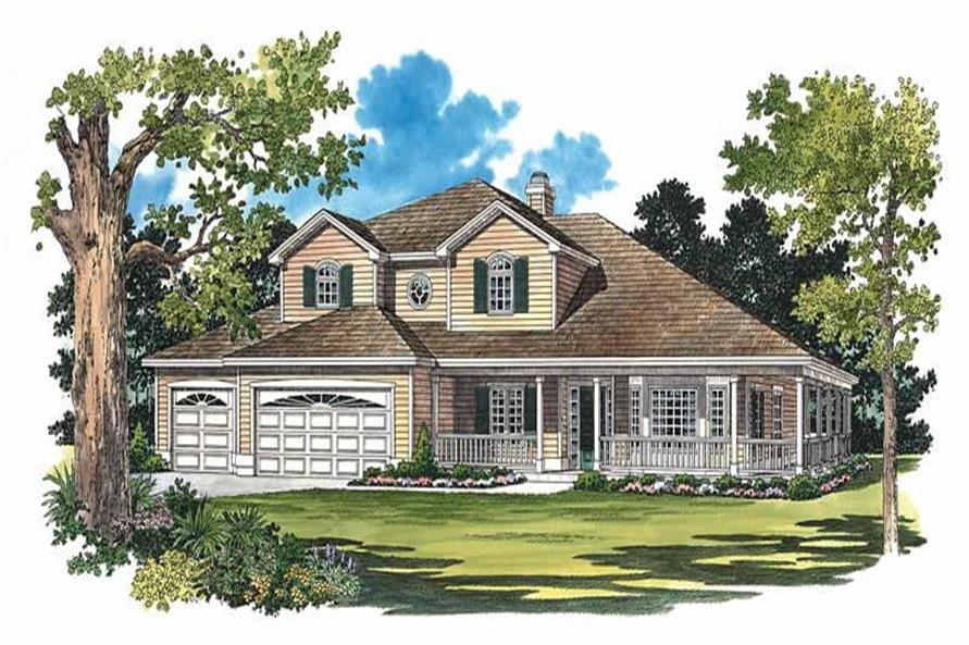 4-Bedroom, 2875 Sq Ft Country House Plan - 137-1312 - Front Exterior