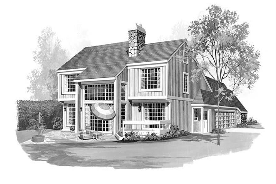 Home Plan Rear Elevation of this 3-Bedroom,1993 Sq Ft Plan -137-1313