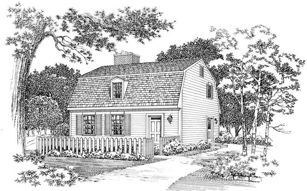 Front illustration of Colonial home plan (ThePlanCollection: House Plan #137-1316)
