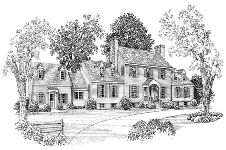 4-Bedroom, 4341 Sq Ft Colonial House Plan - 137-1318 - Front Exterior