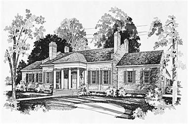 3-Bedroom, 3442 Sq Ft Colonial Home Plan - 137-1320 - Main Exterior