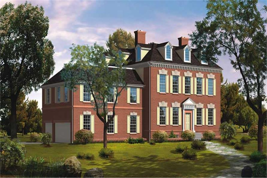 Front elevation of Colonial home (ThePlanCollection: House Plan #137-1322)