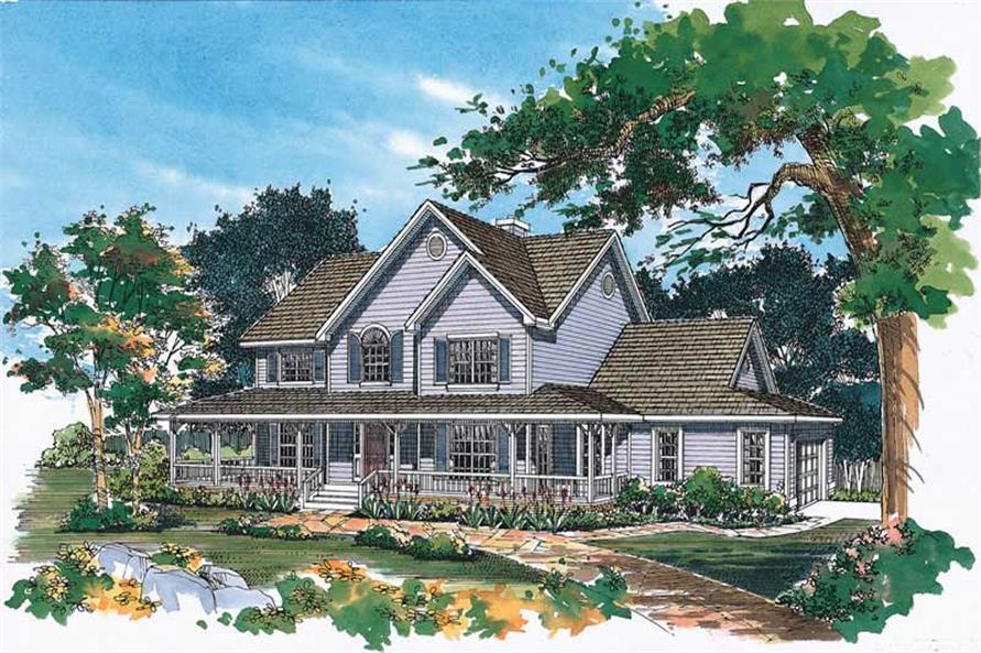 4-Bedroom, 2290 Sq Ft Country Home Plan - 137-1324 - Main Exterior