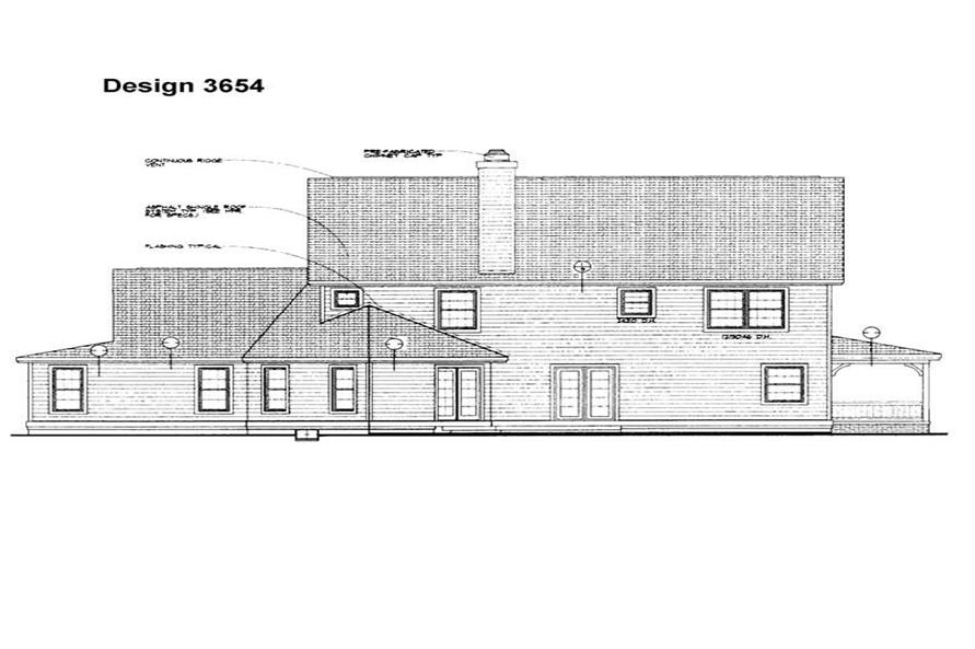Home Plan Rear Elevation of this 4-Bedroom,2290 Sq Ft Plan -137-1324