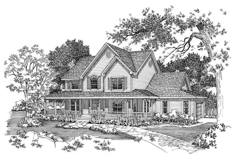 Home Plan Front Elevation of this 4-Bedroom,2290 Sq Ft Plan -137-1324