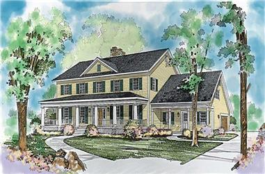 3-Bedroom, 4134 Sq Ft Colonial House Plan - 137-1326 - Front Exterior