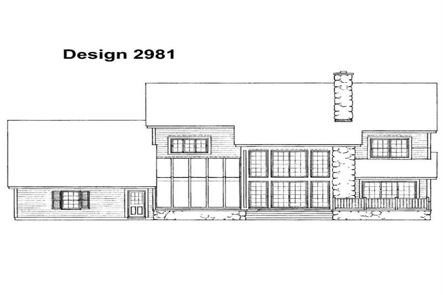 Home Plan Rear Elevation of this 3-Bedroom,4134 Sq Ft Plan -137-1326