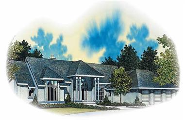 3-Bedroom, 4210 Sq Ft Mediterranean House Plan - 137-1329 - Front Exterior