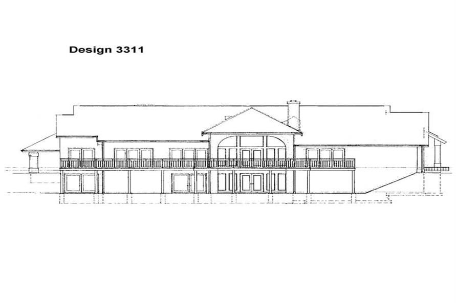 Home Plan Rear Elevation of this 3-Bedroom,4210 Sq Ft Plan -137-1329