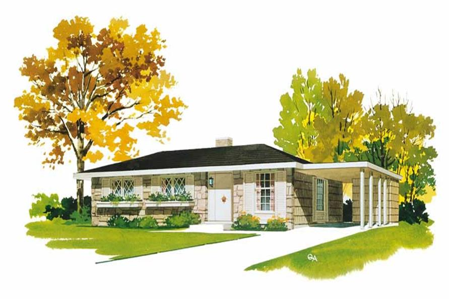 3-Bedroom, 976 Sq Ft Ranch House Plan - 137-1336 - Front Exterior