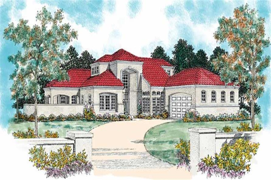Front elevation of Mediterranean home (ThePlanCollection: House Plan #137-1340)