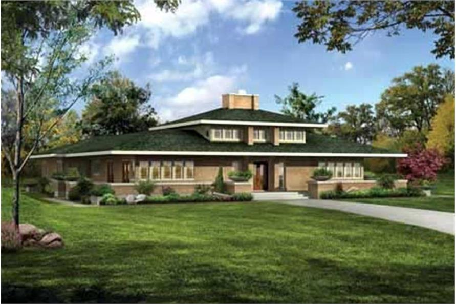 Color rendering of Contemporary home plan (ThePlanCollection: House Plan #137-1347)