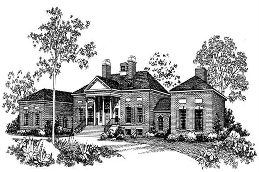 4-Bedroom, 5083 Sq Ft Luxury Manor House Plan - 137-1358 - Front Exterior