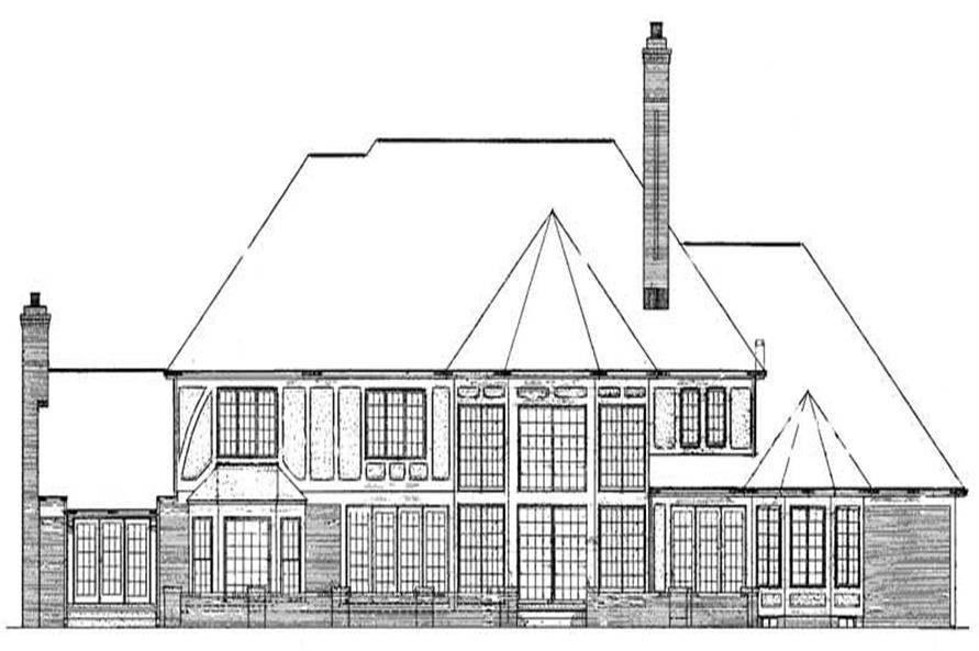 Home Plan Rear Elevation of this 4-Bedroom,6289 Sq Ft Plan -137-1359