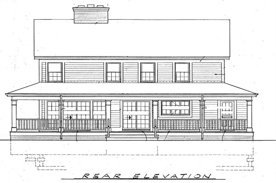 137-1360: Home Plan Rear Elevation