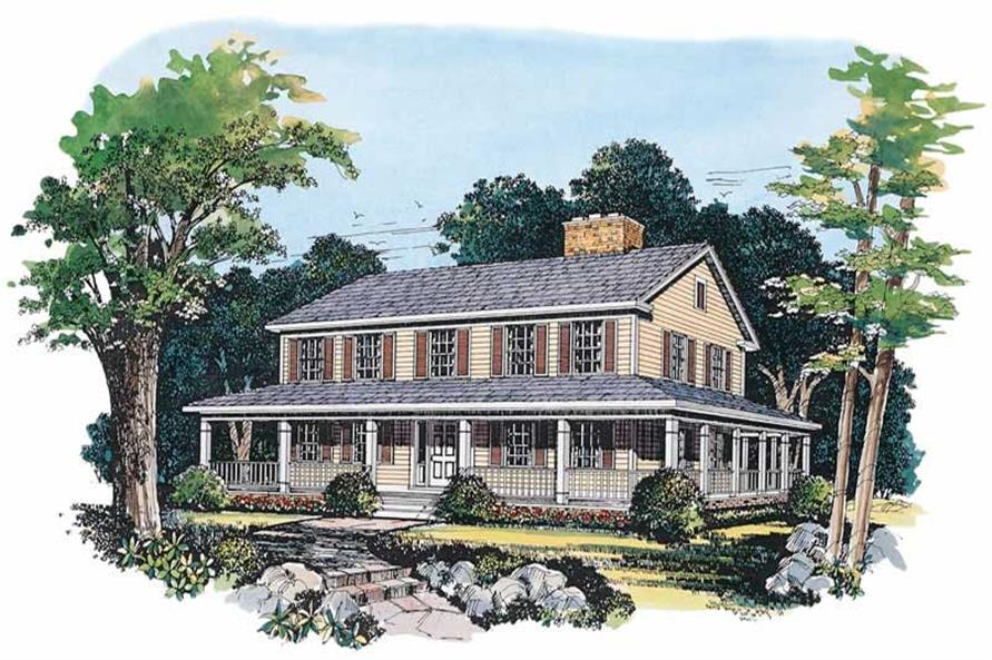 3-Bedroom, 2336 Sq Ft Country House Plan - 137-1360 - Front Exterior