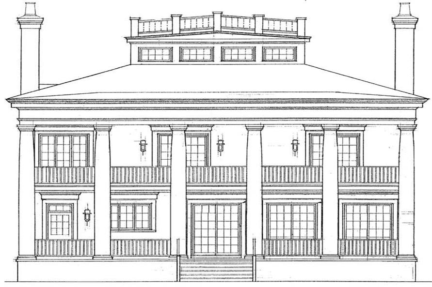 Home Plan Rear Elevation of this 4-Bedroom,4000 Sq Ft Plan -137-1362