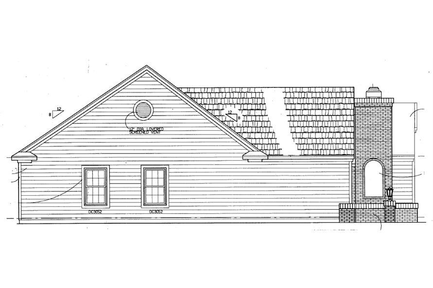 Home Plan Left Elevation of this 4-Bedroom,1418 Sq Ft Plan -137-1363