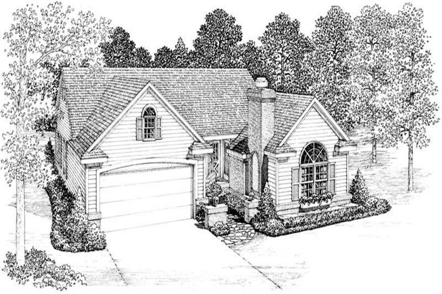 Home Plan Front Elevation of this 4-Bedroom,1418 Sq Ft Plan -137-1363