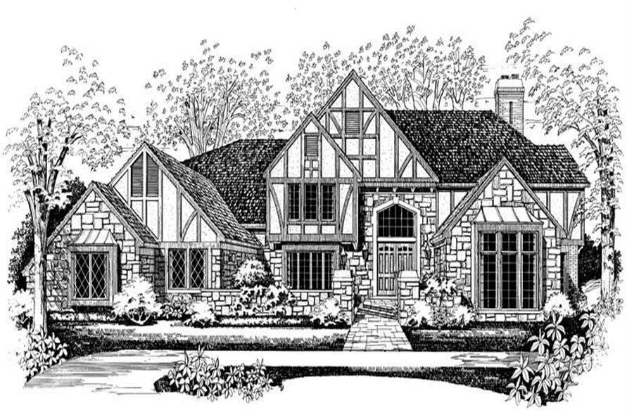 Home Plan Front Elevation of this 4-Bedroom,5638 Sq Ft Plan -137-1366