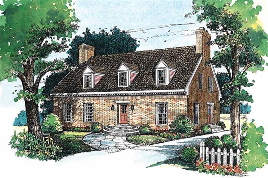 3-Bedroom, 2565 Sq Ft Cape Cod Home Plan - 137-1371 - Main Exterior