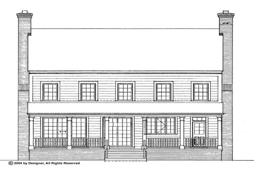 Home Plan Rear Elevation of this 3-Bedroom,2203 Sq Ft Plan -137-1373
