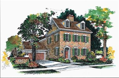 4-Bedroom, 4596 Sq Ft Colonial Home Plan - 137-1376 - Main Exterior