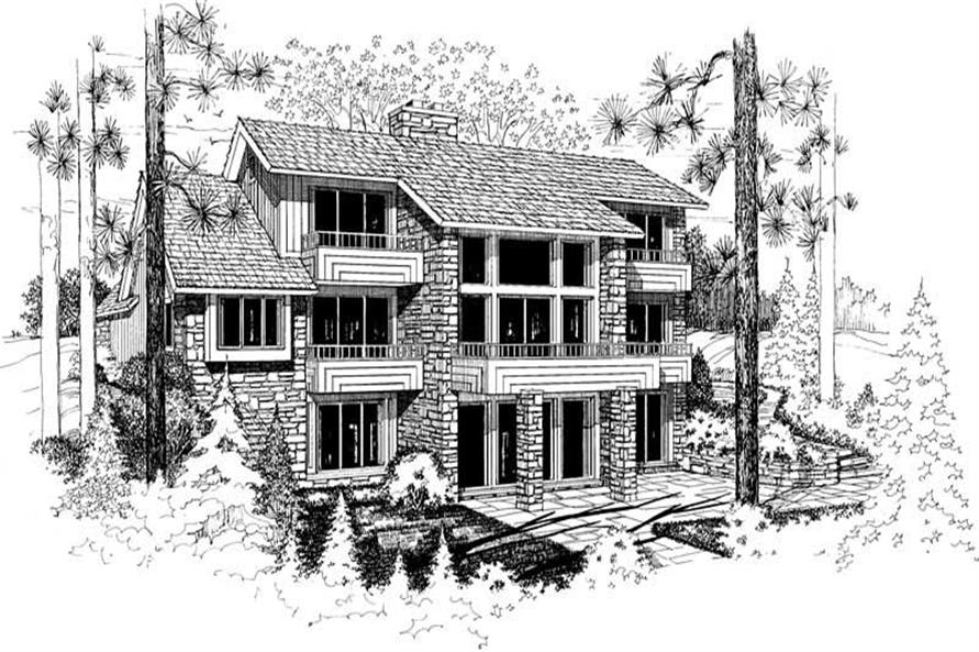 Home Plan Rear Elevation of this 4-Bedroom,3255 Sq Ft Plan -137-1381