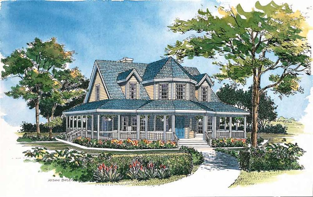 Front elevation of Victorian home (ThePlanCollection: House Plan #137-1385)