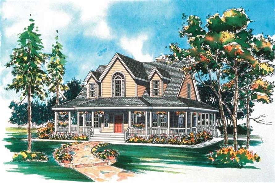 3-Bedroom, 1771 Sq Ft Country Home Plan - 137-1386 - Main Exterior